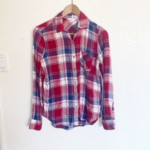 Aeropostale Plaid Button Front Long Sleeve Top